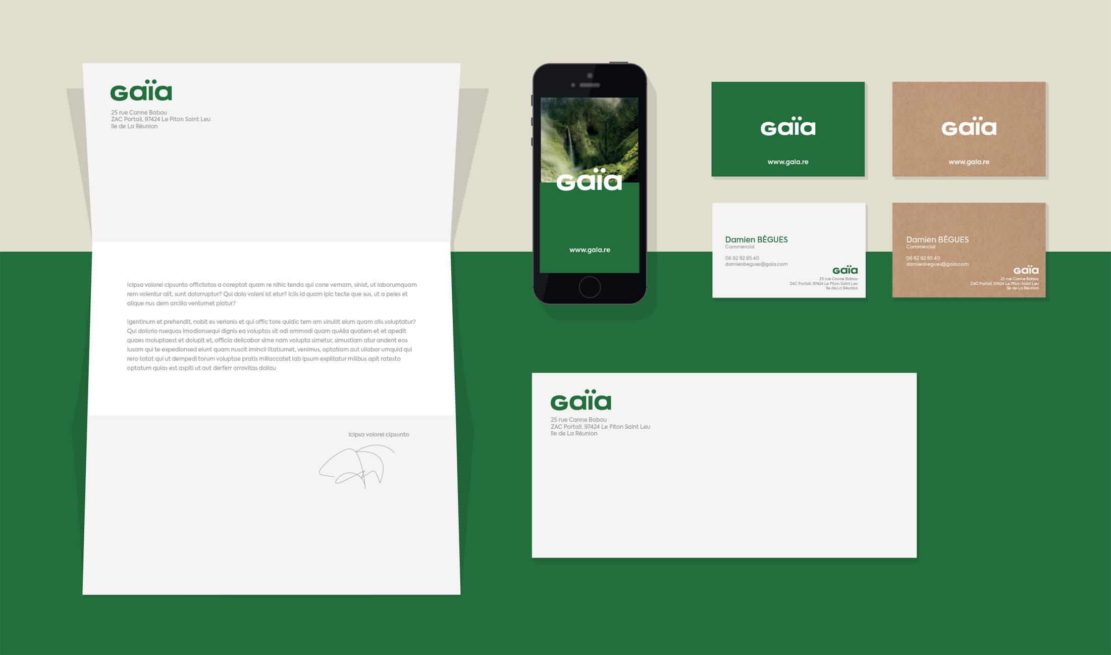 Nouvelle identité Gaïa - Supports de com traditionnels et digital
